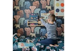 Kinderkamer met olifanten behang