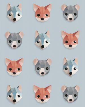 Bosdieren behang ijsblauw