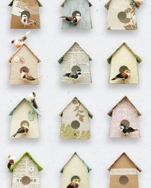 Vogelhuisjes behang