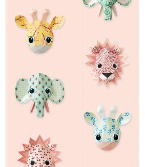 Wilde dieren behang roze