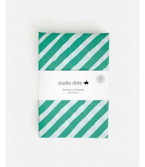 Hoeslaken strepen groen lichtblauw - 1 persoons