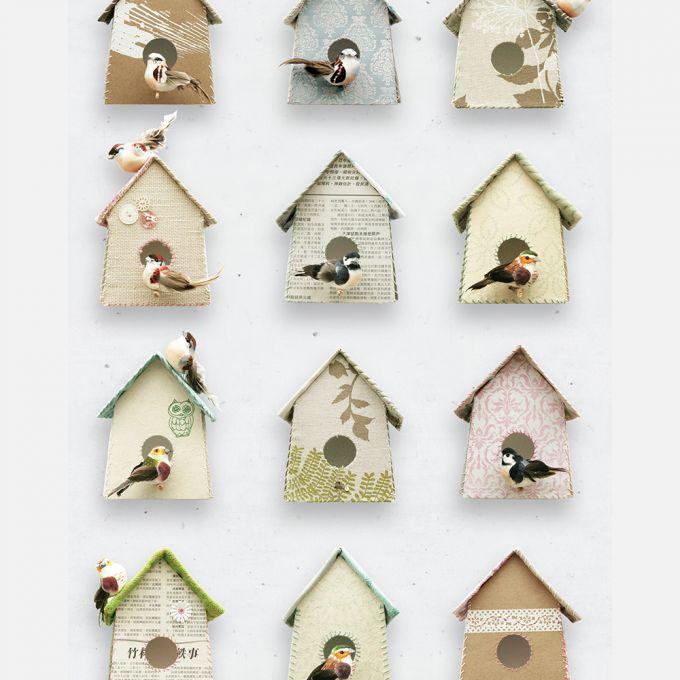 Vogeltjes Behang Lief.Vogelhuisjes Behang