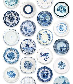 Porselein behang blauw