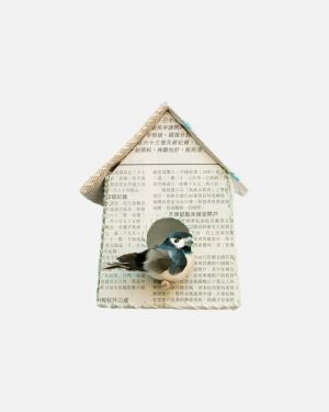 Vogelhuisje muursticker krant - large