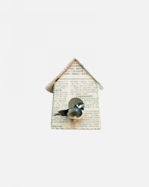 Vogelhuisje muursticker krant - small